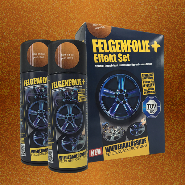 FELGENFOLIE+ Effekt Set, 2 x 400 ml, Perleffekt, Blaze Orange Pearl Effect (€ 3,75 / 100 ml)