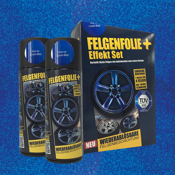FELGENFOLIE+ Effekt Set, 2 x 400 ml, Kristalleffekt, Blue Ice Crystal Effect (€ 3,75 / 100 ml)