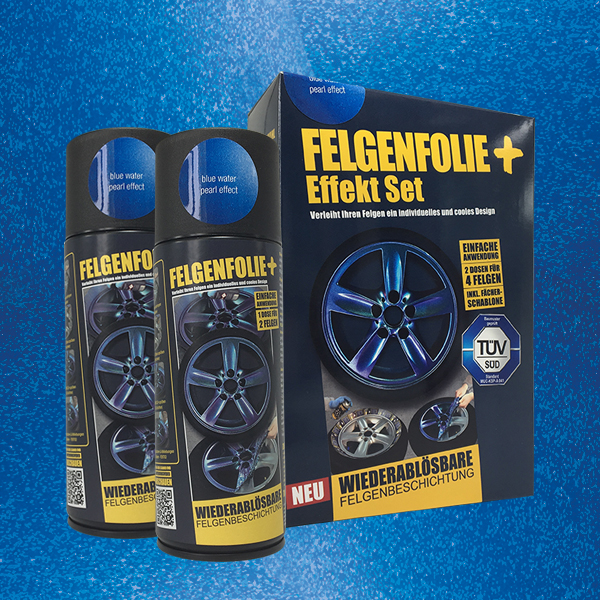 FELGENFOLIE+ Effekt Set, 2 x 400 ml, Perleffekt, Blue Water Pearl Effect (€ 3,75 / 100 ml)