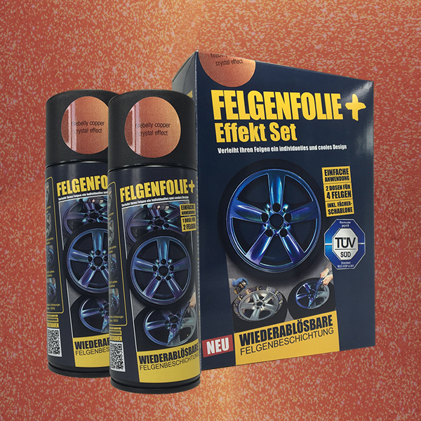 FELGENFOLIE+ Effekt Set, 2 x 400 ml, Kristalleffekt, Firebelly Copper Crystal Effect (€ 3,75 / 100 ml)