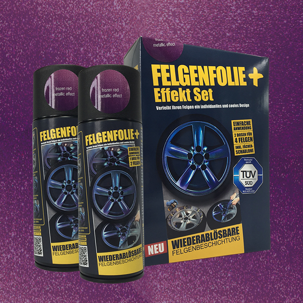 FELGENFOLIE+ Effekt Set, 2 x 400 ml, Metallic Effekt, Frozen Red Metallic Effect (€ 3,75 / 100 ml)