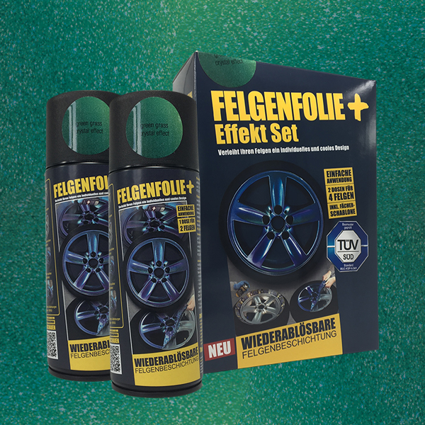 FELGENFOLIE+ Effekt Set, 2 x 400 ml, Kristalleffekt, Green Grass Crystal Effect (€ 3,75 / 100 ml)