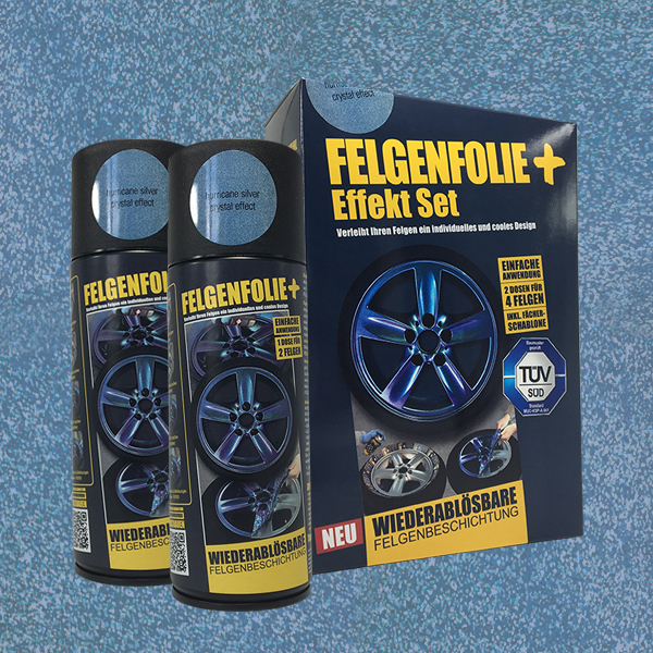 FELGENFOLIE+ Effekt Set, 2 x 400 ml, Kristalleffekt, Hurricane Silver Crystal Effect (€ 3,75 / 100 ml)