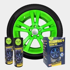 FELGENFOLIE+ Effekt Set, 2 x 400 ml, neon-grün (€ 3,12 / 100 ml)