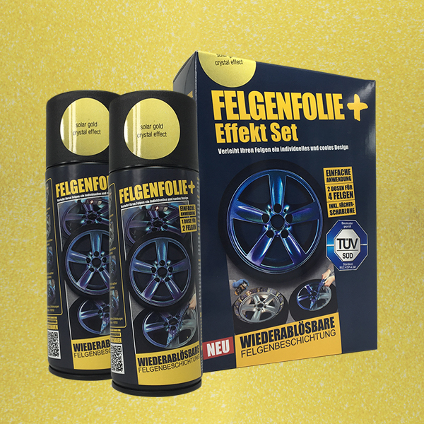 FELGENFOLIE+ Effekt Set, 2 x 400 ml, Kristalleffekt, Solar Gold Crystal Effect (€ 3,75 / 100 ml)