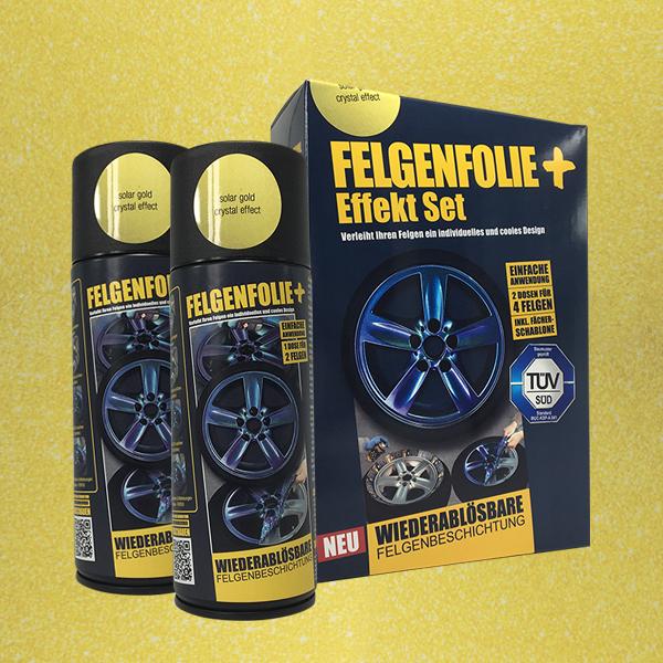 FELGENFOLIE+ Effekt Set, 2 x 400 ml, Kristalleffekt, Solar Gold Crystal Effect (€ 3,75 / 100 ml)