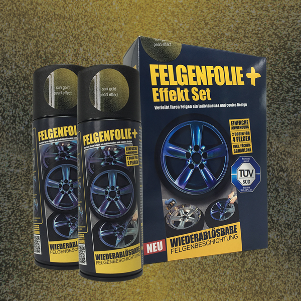FELGENFOLIE+ Effekt Set, 2 x 400 ml, Perleffekt, Sun Gold Pearl Effect (€ 3,75 / 100 ml)