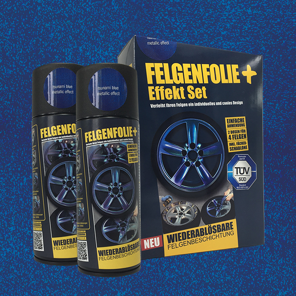 FELGENFOLIE+ Effekt Set, 2 x 400 ml, Metallic Effekt, Tsunami Blue Metallic Effect (€ 3,75 / 100 ml)