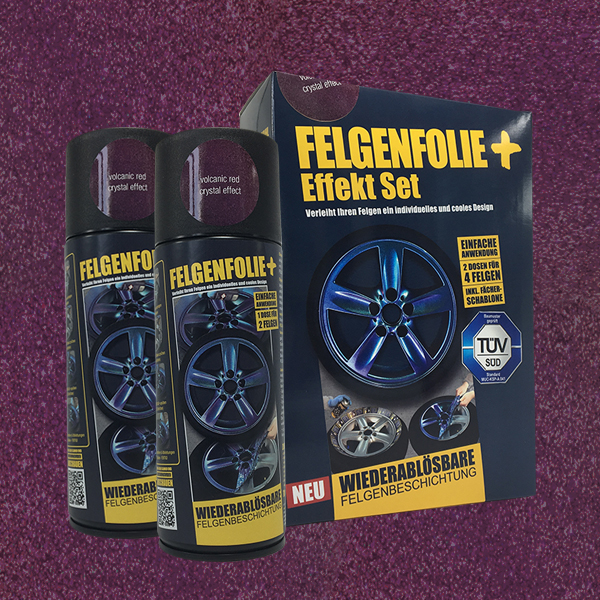 FELGENFOLIE+ Effekt Set, 2 x 400 ml, Kristalleffekt, Volcanic Red Crystal Effect (€ 3,75 / 100 ml)