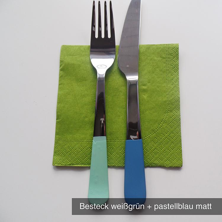Besteck weißgrün pastellblau