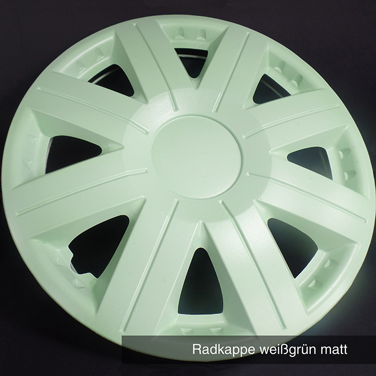 Radkappe weißgrün matt